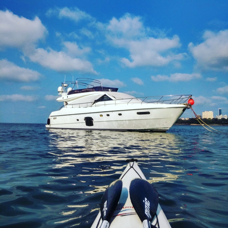 Kayak short of Godrej's Yacht